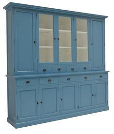 Buffetkast oud blauw Lelystad 280cm mooie grote landelijke sfeervolle kast in oud blauw met veel opbergrumte Decor, Furniture, House, China Cabinet, Home, Storage, Home Decor