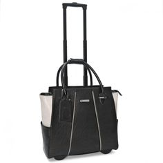 9f5eea50e70 Cabrelli Co Rolling Tote Carry on laptop Briefcase Pipa Piping Black