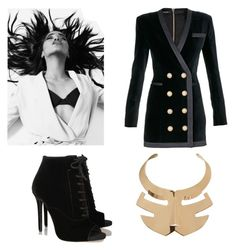 """Black & Gold"" by stefania-fornoni ❤ liked on Polyvore featuring Balmain, Tabitha Simmons, Roger Vivier, gold, black, Heels, necklace and tuxedo"