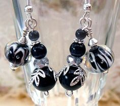 Black and Silver Lampwork Bead Earrings... I have those swirly beads and now I know what to do with them!