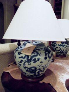 RALPH LAUREN Blue & White Porcelain Table Lamp - Chinese Dragon Design NEW FreeS   eBay