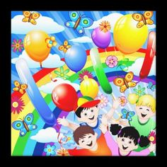 #Happy #Birthday's #Children #Kids Gallery Wrap #Canvas © #Bluedarkat - on #Zazzle!