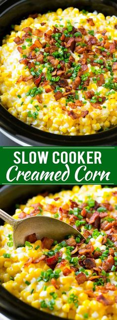 Slow Cooker Creamed Corn Recipe | Easy Creamed Corn Recipe | Slow Cooker Creamed Corn with Bacon | Southern Creamed Corn | Creamed Corn with Cream Cheese