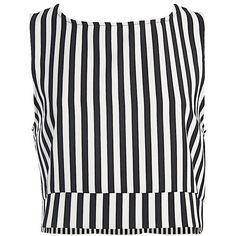 Sans Souci Stripe crop top (15.945 CLP) ❤ liked on Polyvore featuring tops, white crop top, stripe top, striped top, sleeveless tops and stripe crop top Cropped White Shirt, Striped Crop Top, White Shirts, Crop Shirt, Stripe Top, Sleeveless Crop Top, White Tops, Crop Tops, Top 14