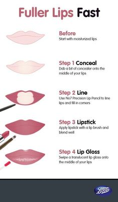 Fuller lips are just four steps away. - Quick Tips & How To - Fuller lips are just four steps away. Lip Tutorial, Lip Makeup Tutorial, Lipstick Tutorial, How To Apply Lipstick, How To Apply Makeup, Clown Makeup, Halloween Makeup, Scary Makeup, Witch Makeup Easy