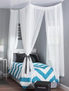 Sleep in style by adding this fabulous DIY canopy to your dorm room bed. Your very own canopy is easy to create and adds a touch of style to any dorm room.