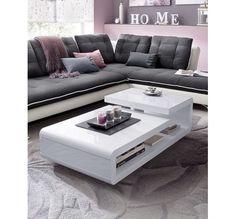 Table basse design blanc laqu avec rangements et plateaux - Zen forest house seulement pour cette maison en bois ...