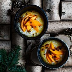 Creamy vanilla tapioca with mango in passion-fruit syrup