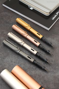 Elegant Lamy LX Fountain Pens are here! These pens are made of anodized aluminum with Gold, Rose Gold, Palladium, or Ruthenium finishes.