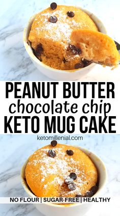 Delicious keto peanut butter chocolate chip mug cake, ready in just minutes! This easy low carb peanut butter mug cake is flourless, gluten free, sugar free and healthy. Try an easy keto single serving dessert today!