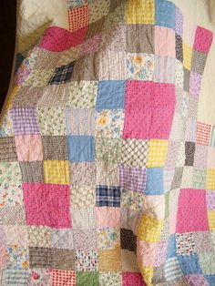 Vintage 1920's PA Country Patchwork One Patch Childs Quilt Feedsack Fabrics   eBay