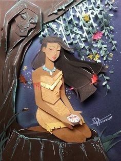 Pocahontas in cutting paper by RaphaelOda