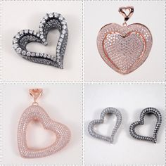 Heavenly Hearts! Italian made sterling silver hearts with the highest quality cubic zirconium. Available in 4 colors silver, black rhodium, 18k rose & yellow gold plating.  www.MorphJewelry.com