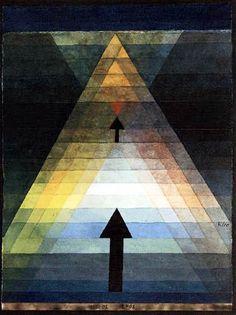 Paul Klee (1879-1940) - Eros 1923, Lucerne, aquarelle - 2 flêches, mouvement du sens, du linguistique vers l'iconique.