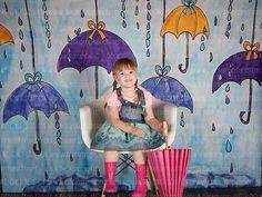Umbrellas Photography Backdrop, Spring Showers, Rain, Rain Drops, Watercolor, Hand Painted, Studio, Spring, Vinyl, Poly, Fleece