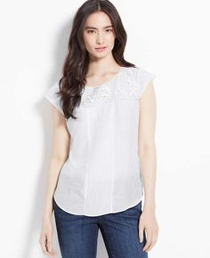 Embroidered Cotton Silk Top | Ann Taylor