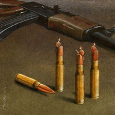 Thought Provoking Paintings By Pawel Kuczynski 29  Politics... it's all about planning the next war, full of money