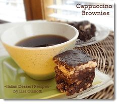 Cappuccino Brownies. Nice and rich - so that a little goes far.  I cut them into smaller squares.  Been making this for 20+ years.