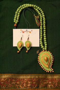 3D Paisley Terracotta Necklace Set by Bagoholics on Etsy, $50.00