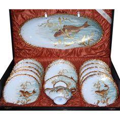 Antique Rare French Limoges Hand Painted Raised Gold Porcelain Fish Set Original Box M.  sc 1 st  Pinterest & Limoges fish set   Fish Plates-Fish Platters-Silver Fish Serving ...