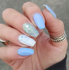 White Sparkle Nails, Blue And White Nails, Blue Glitter Nails, White Acrylic Nails, Summer Acrylic Nails, Light Blue Nails, Sparkle Acrylic Nails, Cute Acrylic Nail Designs, Light Blue Nail Designs