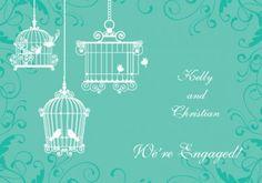 Melody Engagement Invitation Card in Sea Green  - Impressive Invitations
