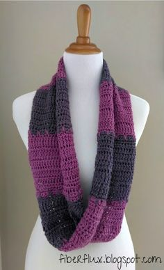 Fiber Flux: Free Crochet Pattern...Violet Tones Infinity Scarf