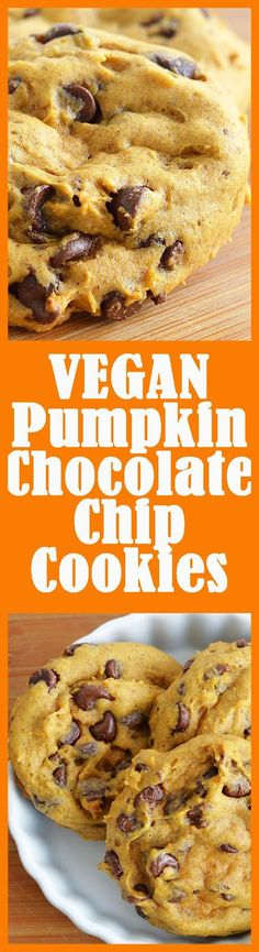 Vegan Pumpkin Chocolate Chip Cookies have such wonderful fall flavor in a healthier cookie! Vegan Pumpkin Chocolate Chip Cookies have such wonderful fall flavor in a healthier cookie! Vegan Treats, Vegan Foods, Vegan Dishes, Cookies Vegan, Vegan Christmas Cookies, Coconut Cookies, Christmas Treats, Vegan Dessert Recipes, Cooking Recipes