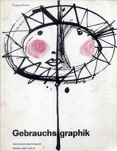 "Gebrauchsgraphik 1958 10 Cover  Cover designed by ""Rastorferk"" (sp?)"