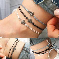 Unisex Ankle Bracelet Beach Foot Bracelet Barefoot Turtle Pendant Jewelry Gift