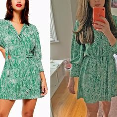 Is Topshop's Green Dress the New Zara Polka-Dot Dress? Elle Taylor, Spring Fashion, Autumn Fashion, Trench Dress, Skirts With Boots, Fall Trends, Dot Dress, Star Fashion, Green Dress