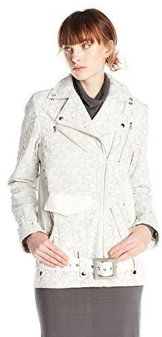 $10,000, Ali Rose Arlene Oversize Laser Cut Leather Moto Jacket White S. Sold by Amazon.com. Click for more info: https://lookastic.com/women/shop_items/284253/redirect