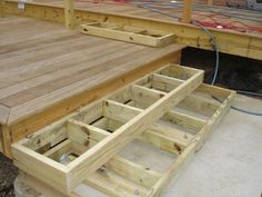 Building Deck Steps Building Deck Stairs Boxes Design And Ideas Patio Steps, Steps For Deck, Edge Of Deck Ideas, Deck Border Ideas, 2 Level Deck Ideas, Cement Steps, Outdoor Steps, Deck Stairs, Deck Railings