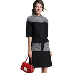 Top Fashion Women Woolen Dress 2016 Fall New … « Elegant Women Fashion... via Polyvore featuring dresses, woolen dress and wool dress