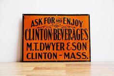 Rare Antique Pre1920s Clinton Beverages Metal by ChapsAndRascal, $430.00
