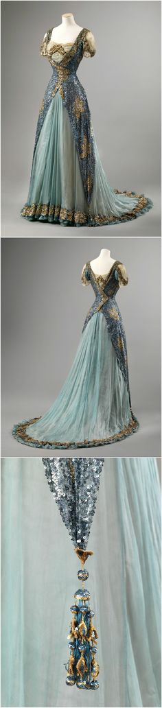 Gala dress, dated between 1905 and 1910, at the National Museum of Art, Architecture and Design. See: http://digitaltmuseum.no/things/gallakjole/NMK-D/OK-1962-0012?query=gallakjole&search_context=1&page=1&count=55&pos=16