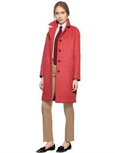 LARUSMIANI CHECKED CASHMERE & SILK COAT, RED/PINK. #larusmiani #cloth #coats