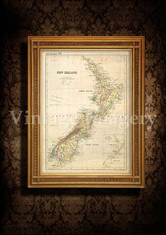 Antique New Zealand map 1881 Old map of New by VintageImageryX