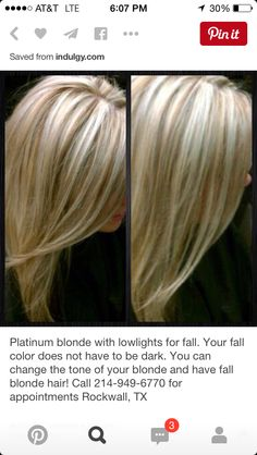 Platinum blonde with lowlights for fall