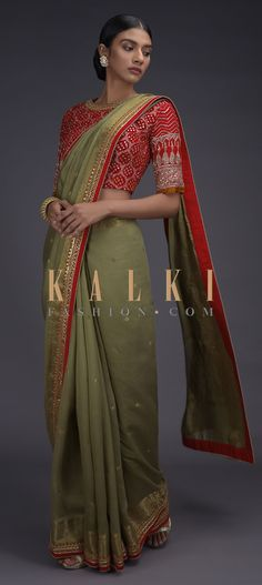 Sage Green Handloom Saree With Weaved Buttis And Border And Red Bandhani Printed Blouse Online - Kalki Fashion Indian Attire, Indian Wear, Handloom Saree, Silk Sarees, Saree Blouse Neck Designs, Wedding Sarees, Party Wear Sarees, Blouse Online, Indian Designer Wear