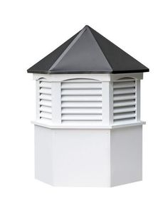 Amish Made Vinyl Hexagon Louvre Cupola Top off your shed, barn or rooftop with an attractive cupola. Custom options include choice of size, color, addition of weathervane and more. #cupola