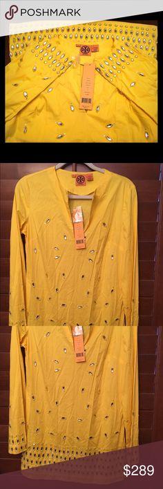 NWT Tory Burch Taj Rhinestone Tunic-Yellow Brand new with tag Tory Burch Taj Rhinestone Tunic in yellow. Measures 30 inches from shoulder to hem. 93% cotton, 7% spandex. Tory Burch Tops Tunics