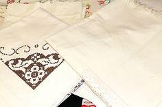 Spanish Blackwork embroidery, fine table runner with crocheted center appliqué.