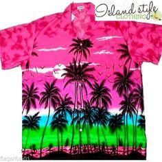 NEW Mens Hawaiian Shirt Palms Retro Luau Party Fancy Dress Colourful Rockabilly
