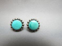 Vintage Sterling Silver Earrings Screw Back Flowers Petal 6.3g Turquoise Stones
