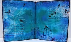 """Marjie Kemper's ethereal art journal piece. Tranquil and the essence of """"relax"""""""