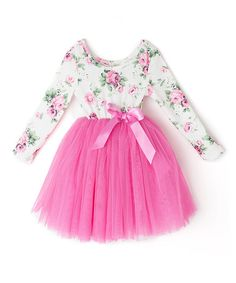 Loving this Hot Pink Floral Long-Sleeve Tutu Dress - Infant & Toddler on #zulily! #zulilyfinds
