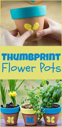 Thumbprint Flower Pots - make cute thumbprint butterflies on terracotta flower pots for an easy spring craft #craft #DIY #craftsforkids #mothersdaygift