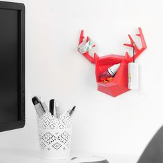 Red Artiart Wall Mouted Art Decor Buck Beer Shaped Storage Hook Hanger case jewellery box Jewelry Boxes Key Hangers Organzer