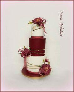 Crimdon Peonies by Karen Dodenbier - Wedding Ideas Burgundy Wedding Cake, Wedding Cake Roses, Amazing Wedding Cakes, Elegant Wedding Cakes, Wedding Cake Designs, Pretty Cakes, Cute Cakes, Beautiful Cakes, Bolo Floral